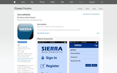 Screenshot of iOS App Page apple.com - SierraMobile on the App Store on iTunes - captured Nov. 2, 2014