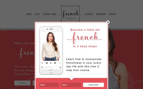 Screenshot of Home Page frenchtruly.com - Learn French Online - French Language Courses | French Truly - captured Oct. 25, 2018