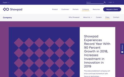 Screenshot of Press Page showpad.com - News Archive – Showpad - captured March 13, 2019