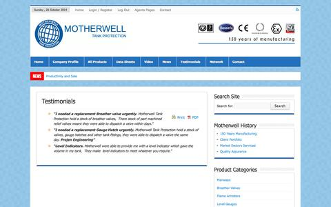 Screenshot of Testimonials Page motherwelltankprotection.com - Testimonials | Motherwell Tank Protection - captured Oct. 26, 2014