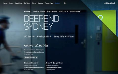 Screenshot of Contact Page deepend.com.au - Contact | Digital Agency - captured May 8, 2019