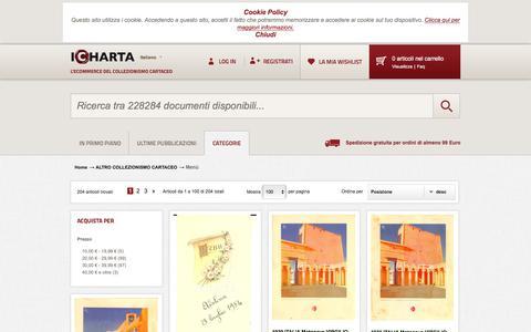 Screenshot of Menu Page icharta.com - Menù - ALTRO COLLEZIONISMO CARTACEO - captured June 10, 2018