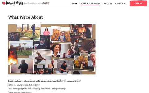 Screenshot of About Page aarp.org - Disrupt Aging: Changing Perceptions of Age, Confronting Ageism - captured Oct. 18, 2018