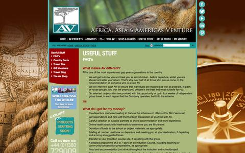Screenshot of FAQ Page aventure.co.uk - FAQ's - Useful-Stuff - Africa and Asia Venture - captured Oct. 4, 2014
