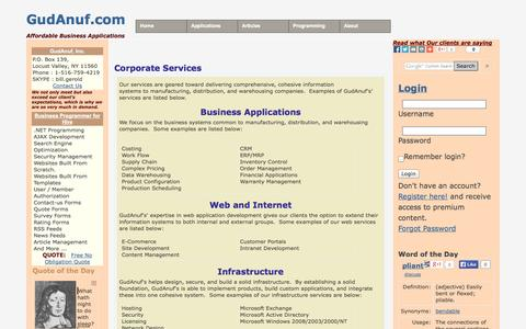 Screenshot of Services Page gudanuf.com - Corporate Services immeadiately Benefit from our Software - captured Oct. 1, 2014