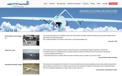 Screenshot of Testimonials Page uavfactory.com - UAV Factory – Unmanned Platforms and Subsystems - captured July 21, 2016