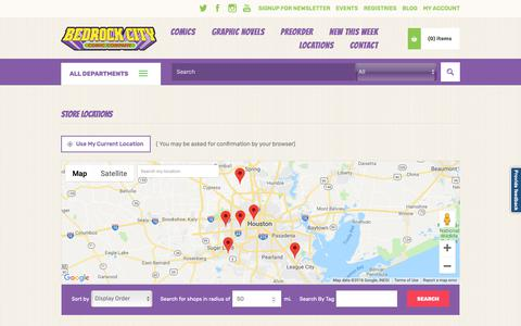 Screenshot of Locations Page bedrockcity.com - Bedrock City Comic Company. All our shops - captured Nov. 6, 2018