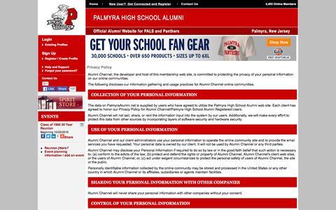 Screenshot of Privacy Page palmyraalumni.net - Palmyra High School Alumni - Privacy Policy - captured March 4, 2016