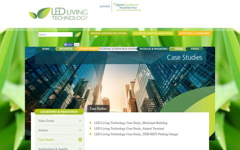 Screenshot of Case Studies Page ledlivingtechnology.com - LED Living Technology -   Case Studies - captured Sept. 26, 2014