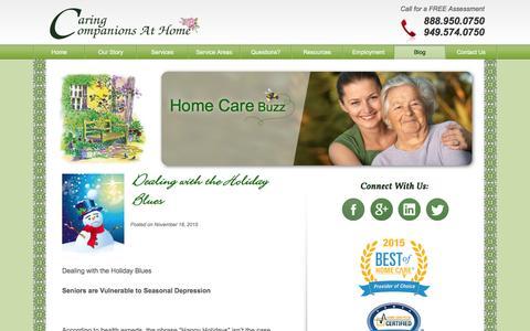 Screenshot of Blog caringcompanionsathome.com - Home Care Buzz | Caring Companions at Home - captured Jan. 25, 2016