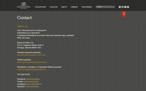 Screenshot of Contact Page stacheandhyde.com - Contact Stache & Hyde | Stache & Hyde - captured Oct. 6, 2014