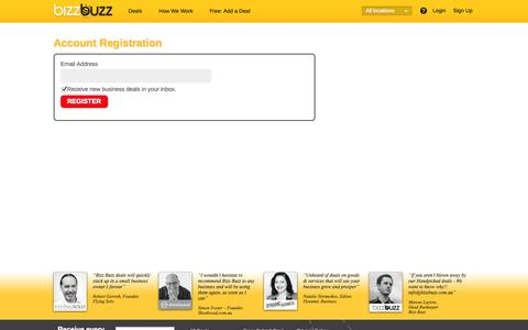 Screenshot of Signup Page bizzbuzz.com.au - Account Registration - captured Sept. 22, 2014