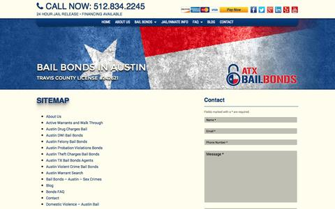 Screenshot of Site Map Page atxbb.com - Sitemap - ATX Bail Bonds | Jail Release | Travis County, Austin, Texas - captured Oct. 4, 2014