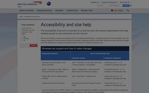 Accessibility and site help - British Airways