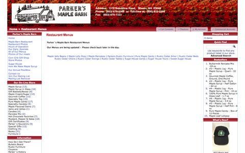 Screenshot of Menu Page parkersmaplebarn.com - Parker`s Maple Barn - captured June 22, 2016