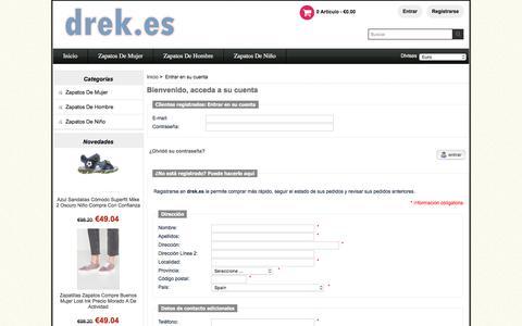 Screenshot of Login Page drek.es - Entrar en su cuenta :  El más barato,Zapatos De Niño,Zapato Tacón,Zapatos Casual,Alpargatas - 70% 0ff - captured Jan. 17, 2018