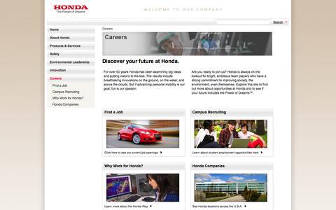 Screenshot of Jobs Page honda.com - American Honda Jobs - Auto, Motorcycle Careers, Positions Open - captured Sept. 18, 2014