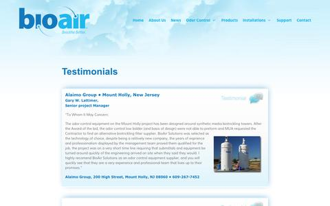 Screenshot of Testimonials Page bioairsolutions.com - Testimonials | BioAir Solutions, LLC - captured Oct. 10, 2017