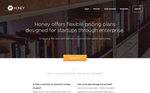 Screenshot of Pricing Page honey.is - Pricing | Honey - captured Aug. 22, 2016