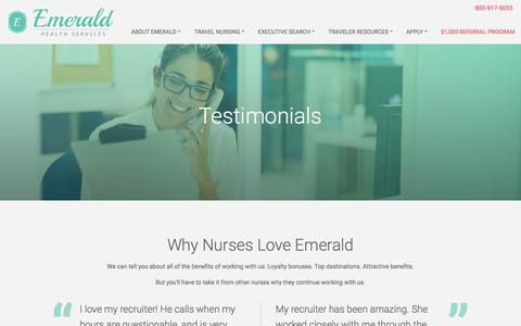 Screenshot of Testimonials Page emeraldhs.com - Nursing Tesimonials Client Testimonials   Emerald Health - captured Jan. 28, 2016