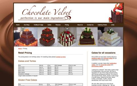 Screenshot of Pricing Page chocolatevelvet.co.nz - Pricing for Chocolavte Velvet Cakes, Chocolate Velvet Nelson New Zealand. - captured Sept. 30, 2014