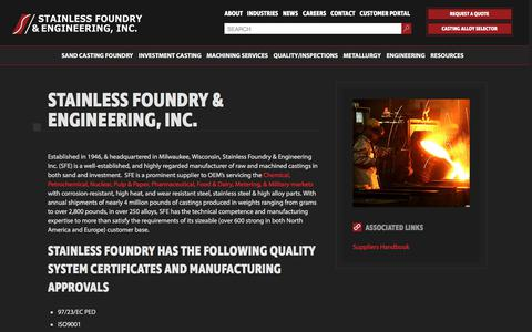 Screenshot of About Page stainlessfoundry.com - Investment Casting Company - captured Nov. 2, 2017