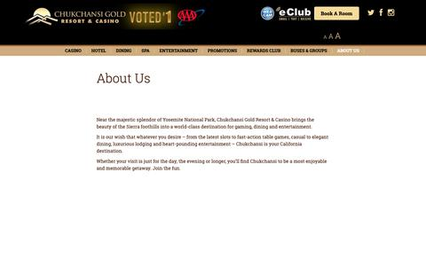 Screenshot of About Page chukchansigold.com - About Us - Chukchansi Gold Resort & Casino - captured Sept. 28, 2018