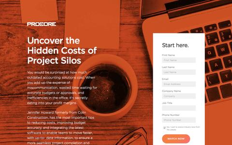 Screenshot of Landing Page procore.com - Uncover the Hidden Costs of Project Silos - captured April 25, 2017