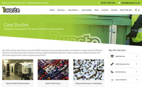 Screenshot of Case Studies Page iwaste.co.uk - WEEE Recycling Service | E Waste Recycling | Electronic Waste Company - captured Oct. 20, 2018