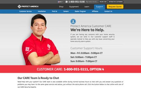 Screenshot of Support Page protectamerica.com - Support |  Home Security Systems | Home Alarm | GE Security - captured Sept. 18, 2014