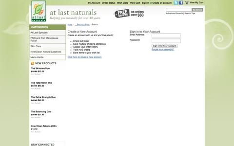 Screenshot of Login Page atlastnaturals.com - At Last Naturals - Sign in - captured Sept. 30, 2014