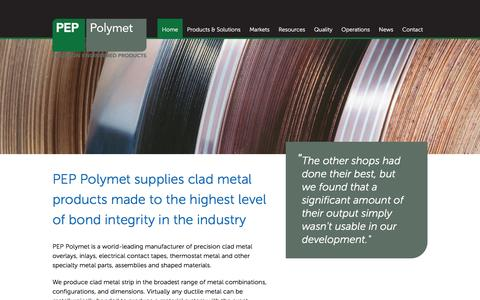 Screenshot of Home Page peppolymet.com - Clad metal products made to the highest level of bond integrity in the industry - captured March 1, 2016