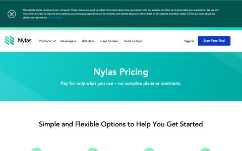 Screenshot of Pricing Page nylas.com - Nylas Email API Pricing | Nylas API - pricing that scales with your business - captured May 6, 2019