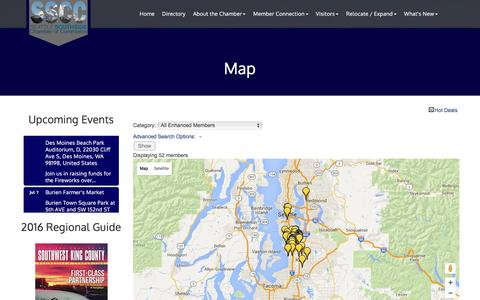 Screenshot of Maps & Directions Page sschamber.com - Map - SWKCC/Seattle Southside Chamber of Commerce, WA - captured July 2, 2016