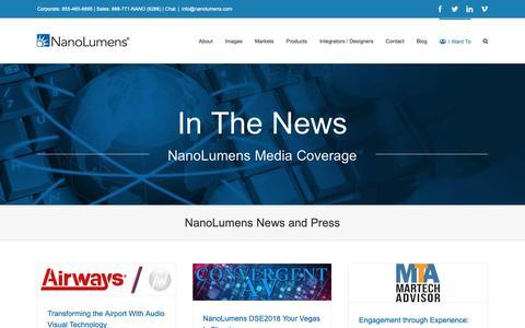 Screenshot of Press Page nanolumens.com - NanoLumens News and Press - NanoLumens - captured Feb. 23, 2019
