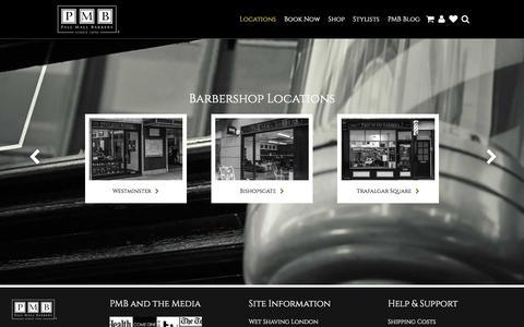 Screenshot of Locations Page pallmallbarbers.com - Locations - Pall Mall Barbers, London - captured Jan. 24, 2016