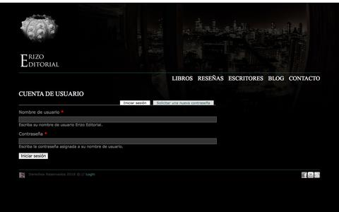 Screenshot of Login Page erizoeditorial.com - Cuenta de usuario | Erizo Editorial - captured May 6, 2016