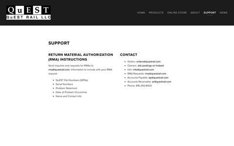 Screenshot of Support Page questrail.com - Support — QuEST Rail LLC - captured Dec. 14, 2018