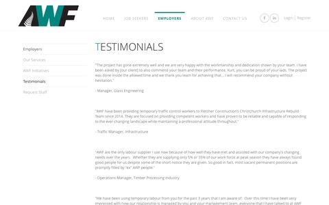 Screenshot of Testimonials Page awf.co.nz - Testimonials  | AWF - captured Aug. 16, 2016