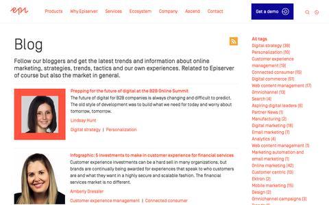 Screenshot of Blog episerver.com - Digital Marketing and E-Commerce Blog | Episerver - captured May 18, 2019