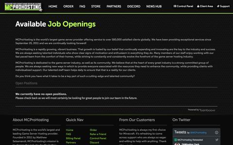 Screenshot of Jobs Page mcprohosting.com - Minecraft Server Hosting and More! | MCProHosting                     |              Positions - captured Dec. 16, 2019
