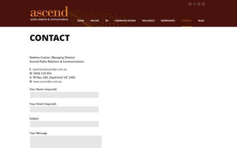 Screenshot of Contact Page ascendpr.com.au - PR, Communications, & more | ascendpr.com.au Contact | PR, Communications, & more | ascendpr.com.au - captured Oct. 4, 2014