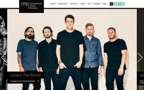 Screenshot of Home Page itb.co.uk - Home | ITB | International Talent Booking. Live music booking agency London - captured Nov. 17, 2015