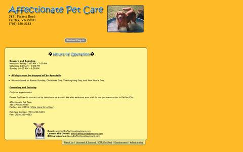 Screenshot of Hours Page affectionatepetcare.com - Contact Affectionate Pet Care - captured April 13, 2017