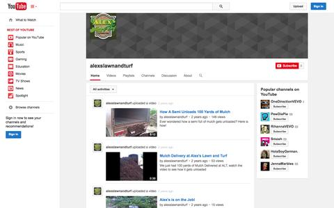 Screenshot of YouTube Page youtube.com - alexslawnandturf  - YouTube - captured Oct. 23, 2014