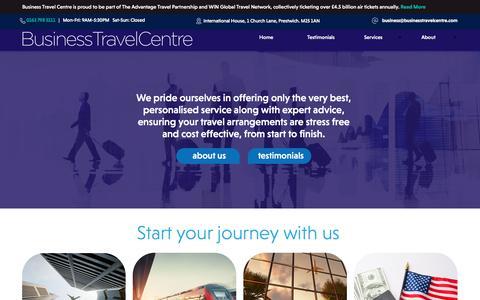 Screenshot of Home Page businesstravelcentre.com - Home - captured Aug. 4, 2018