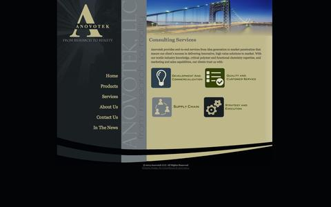 Screenshot of Services Page anovotek.com - Anovotek, LLC, Textile Consulting, Research & Development, Process Improvement, Textile Chemicals, Commercialization    ,  Consulting Services - captured Oct. 4, 2014