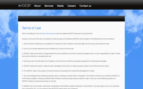 Screenshot of Terms Page avocet.eu - Terms of Use | Avocet - captured Sept. 30, 2014