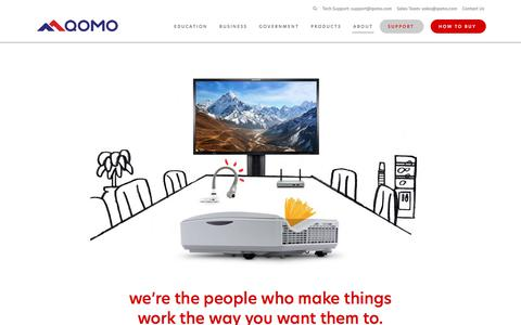 Screenshot of About Page qomo.com - About Us | Powerfully Simple Presentation Technology | QOMO - captured July 4, 2018