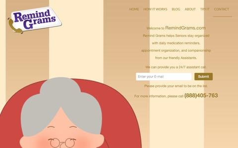 Screenshot of Contact Page remindgrams.com - Contact | Friendly Virtual Assistants for Seniors - captured Nov. 5, 2014